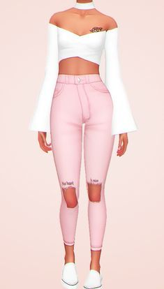 ➸ i need your love hair Sims Four, Sims 4 Mm Cc, Sims 4 Mods Clothes, Sims 4 Clothing, Matching Outfits, Outfits For Teens, Mix Match Outfits, Maxis, Top Jean