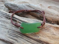 Green Sea Glass and Leather Bracelet  Seaglass by byNaturesDesign, $12.00