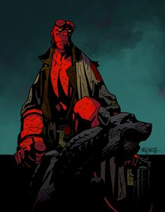 Im no Dave Stewart, but heres a lil Hellboy for fun Original lines Mike Mignola Hellboy on Gargoyle Comic Books Art, Comic Art, Geeky Wallpaper, Mike Mignola Art, Midtown Comics, Dark Comics, Darkest Dungeon, Gaming Tattoo, Fan Art