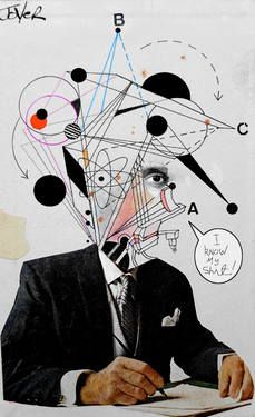 "Saatchi Art Artist Loui Jover; Collage, ""mr know it all"" #art"