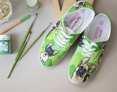 Green painted shoes with doggy. Painting shoes dog. Funny wolfhound and friend dog on canvas shoes. Personalised shoes