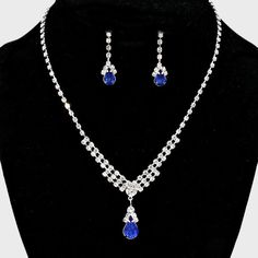 Beautiful Bridal/Prom SILVER & BLUE Rhinestone Costume Necklace/Earring Set #LolaCollection