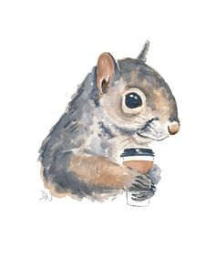 Original Squirrel Watercolour Painting Coffee by WaterInMyPaint, $49.00