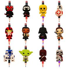 Star Wars Pencil Toppers DIY School Stationery Kids Party Xmas Gifts - Pencil - Ideas of Pencil Diy School Stationery, Stationery Pens, Pencil Topper Crafts, Star Wars Cartoon, Pen Toppers, Keychain Design, Star Wars Kids, Star Wars Party, Childrens Party