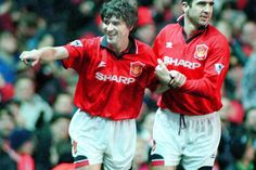 Manchester United v Everton, pictured by Chris Gleave. Roy Keane is grabbed by Eric Cantona after scoring Utd's first goal.