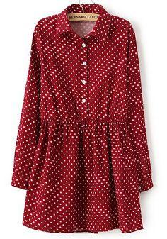 Vestido pana topos solapa manga larga-rojo EUR€25.15
