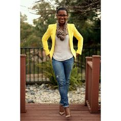 Amarelo e animal print,  blazer e echarpe #Style #estilo #Mulheres #estampas #cores #InstaSize