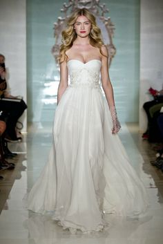 Reem Acra Bridal Spring 2015...Beautiful but elegant. Adjust the neckline to fit your style. Get that designer look without the designer $$$, have it custom-made.