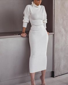 Poptia Grey Turtle Neck Long Sleeve Bodycon Midi Sweater Dress - - Source by charenelle Winter Fashion Outfits, Look Fashion, Fall Outfits, Autumn Fashion, Womens Fashion, Urban Chic Fashion, Kids Outfits, Fashion Dresses, Classy Outfits
