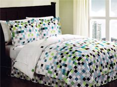 Minecraft Pixels Comforter Set Teen Bedding Bed in a Bag Geometric White Green Black...this one is instock