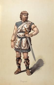 """Costume design by Karl Emil Döpler for Siegmund, in """"Die Walküre"""" by Richard Wagner Could this be a model for Tuor? Comic Art, High Fantasy, Character Design, Ancient Warriors, Old Warrior, Anglo Saxon, Creative Artists, Viking Warrior, Mythology"""
