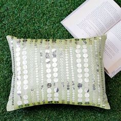 Ultra-Snob Sequins Work Cushion Cover Green And Silver