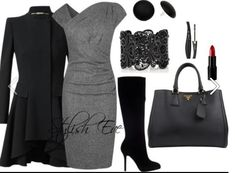 Confident. Gray and black boots with a dress