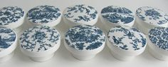 Blue Toile Drawer Knobs- Navy Blue Bird Knobs, Pretty Blue Floral Prints - Wood Knobs- 1 1/2 Inches - Set of 10- Made-to-Order on Etsy, $47.50