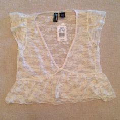 Off White Lace Top - 1 Button Closure  - $10