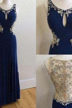 Scoop Neck Long Chiffon Prom Dresses Crystals Beaded Party Dresses Floor Length Women Dresses 2016
