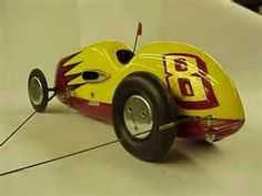 """Tether Cars were born in Southern California in the late 1930's. They are small gas powered model race cars[about 17""""long], connected by a tether wire to a post in the ground. The tether wire is from 35 to 40 feet long. A single car will race around in a circle for speed. By the early 1940's cars were reaching speeds of 75 to 80 m.p.h. Now, in 2009, cars are traveling at speeds of over 212 m.p.h."""