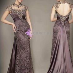 Purple Brown Mother of The Bride Dress Lace Evening Dresses picture from Suzhou Leader Apparel Co. view photo of Evening Dresses, Evening Dress, Mother of The Bride Dress.Contact China Suppliers for More Products and Price. Vintage Evening Gowns, Lace Evening Gowns, Dress Vintage, Vintage Prom, Vintage Lace, Vintage Style, Wedding Robe, Bridesmaid Dresses, Prom Dresses