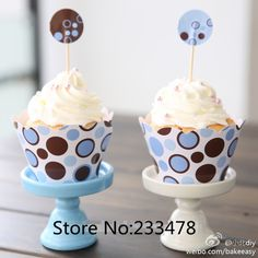 Free Shipping blue point cupcake wrappers&toppers picks decoration birthday party favors supplies(60pcs wraps+60 toppers) US $20.49