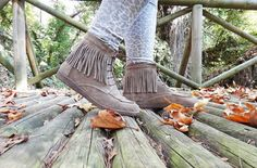 Nala Ankle Boots  Handmade genuine leather fringe ankle boots in unique mocha grey color. Super comfortable booties with soft and warm leather lining.