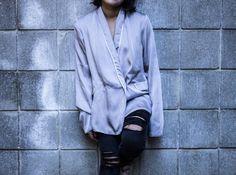 Grey Satin Pajama Shirt  #greysatin #pajamastyle