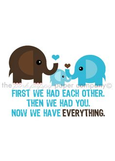 Now We Have Everything 5x7 Elephant Family by pinkpuppypaperco