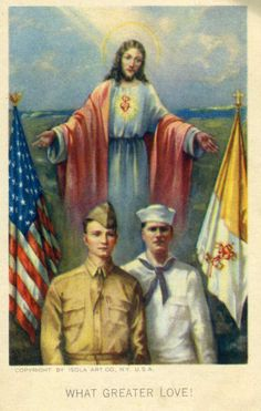 vintage Holy Card 1942  Praise The Lord and pass the ammunition.