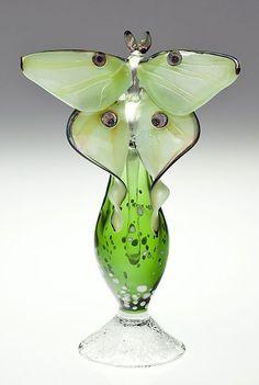 """Luna Moth Perfume Bottle"""" Art Glass Perfume Bottle Created by Loy Allen"""