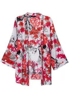 Charming Floral Print Kimono