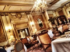 Two-Michelin-star Le Cinq is an exquisite dining room, dressed in grey and gold. The tablecloths, china and silver were all created specifically for this legendary Hotel.