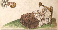 """Kalendarium, medizinische und astronomisch/astrologische Texte Johannes Birk (?): 'Stiftung des gotzhaus Kempten' (""""Karlschronik"""") Baumzucht Cgm 9470 Schwaben (Kempten?), 1499/um 1500 Folio 75v"""