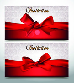 Red bow holiday cards vector