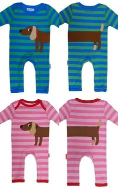 Toby Tiger Sausage Dog Rompers printed front and back in organic cotton... awww      @marta corrente