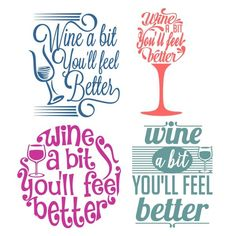 Free Hand Lettered Cut FIles for your Silhouette CAMEO or Cricut cutting machine! So many craft ideas for these cute cut files! SVG, DXF and PNG files. Silhouette Cameo Projects, Silhouette Design, Vinyl Crafts, Vinyl Projects, Cricut Ideas, Vynil, Scan And Cut, Wine Quotes, Cutting Tables