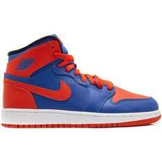Air Jordan I (1) Retro High OG Knicks GS ❤ liked on Polyvore featuring shoes, sneakers, jordans and nike
