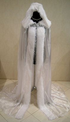 Medieval Cloak White Cape Handfasting Dress Costume Snow Ice Queen Narnia Witch | eBay