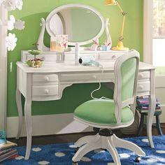 Lilac Vanity Mirror Hutch, Lilac White