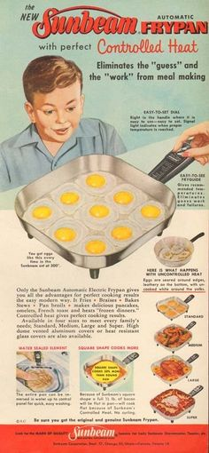 1950s vintage SUNBEAM Frying Pan FRIED EGG Breakfast RETRO KITCHEN Cooking AD -- had one of these.