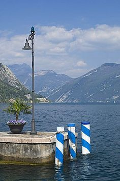 View to the north from the harbour mouth, Limone, Lake Garda, Italian Lakes, Lombardy, Italy, Europe
