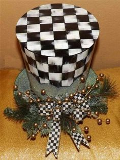 MacKenzie Childs Courtly Check Ribbon on Snowman Hat Tree Topper Christmas Lot Christmas Hat, Christmas Tree Toppers, All Things Christmas, White Christmas, Christmas Holidays, Christmas Ornaments, Mackenzie Childs Inspired, Mckenzie And Childs, Snowman Hat