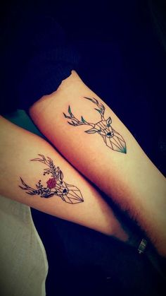 ▷ 1001 + ideas for matching couple tattoos to help you decla.- ▷ 1001 + ideas for matching couple tattoos to help you declare your love deer and stag, geometric design, matching tattoos, forearm tattoos - Diy Tattoo, Stag Tattoo, Female Forearm Tattoo, Deer Antler Tattoos, Cool Forearm Tattoos, Tattoo Female, Cute Couple Tattoos, Cute Tattoos, Body Art Tattoos