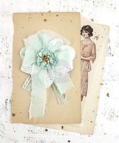 Flowers > Mint Avalon Fabric Flower - Prima: A Cherry On Top