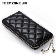 Women Sheepskin Quilted ID Credit Card Holder Clutch Black Wallet Long  Handbag #teemzone #PhoneBagwallet
