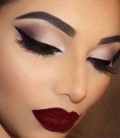 Wine Lips + Feline Liner + Nude Eyeshadow                                                                             Source