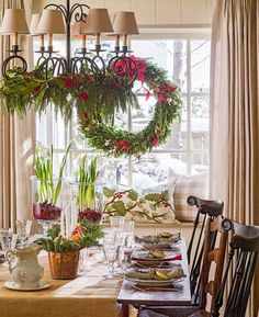 Greenery brightens up a holiday table. Here's how: http://www.midwestliving.com/homes/featured-homes/holiday-house-tour-tailor-made-holiday/?page=4