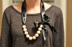Ribbon and Wood Bead necklace