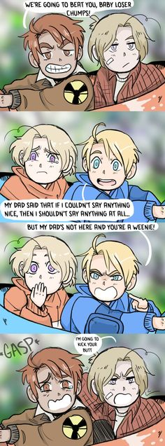 "Fight ME by ExclusivelyHetalia.deviantart.com on @DeviantArt Hahahahaha: ""...But my Dad's not here, and you're a weenie!"" And Canada's all like ""Ooooooh!"" // 2P vs. the originals. I honestly don't know who I'm voting for at this point."