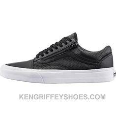 f1ab91ba1761c9 Vans Perforated Leather Old Skool Zip (Mens) - Black Ffh5M