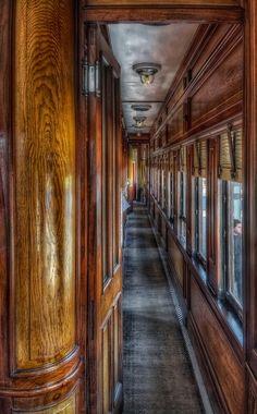 fieldsofpheasantsrebloggedyouclevergirl viaTumblr Train coupé corridor wood, windows