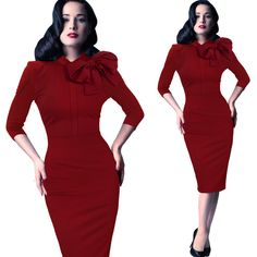 Find More Dresses Information about Free Shipping Vintage Black/Red/Green Bow Collar  3/4 Long Sleeves  Bodycon Women Dress Slim Elastic Summer Dress  41921,High Quality dress tulle,China dress high school graduation Suppliers, Cheap dress wild from Queen's Luck on Aliexpress.com